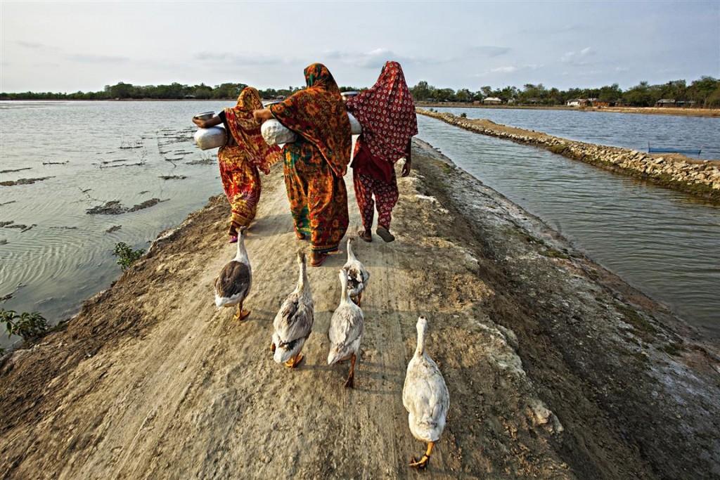 Women carry pitcher of drinking water at Burigoalini. Satkhira, Bangladesh